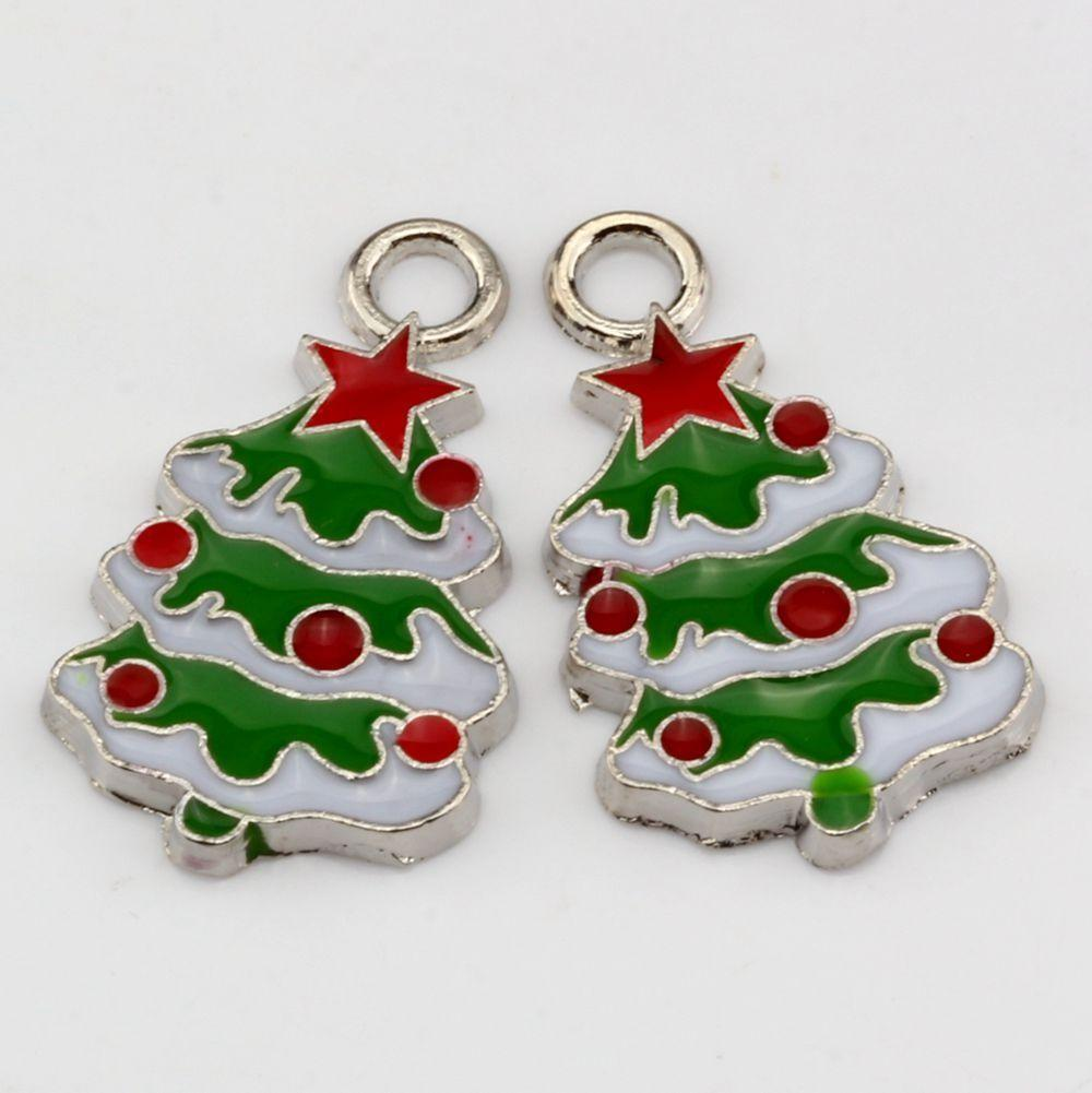 2017 Hot Green Enamel Christmas Tree Charm Pendant 15x