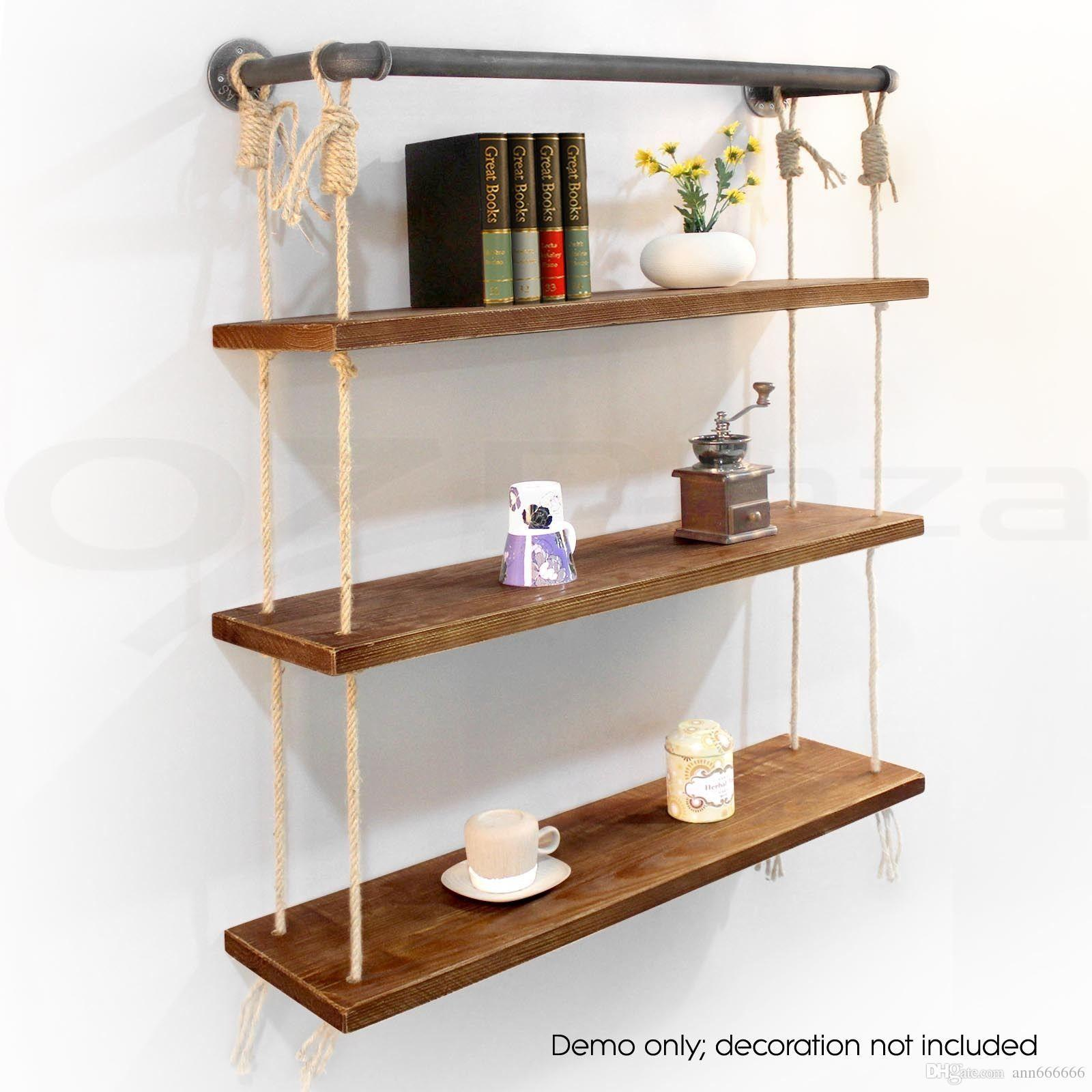 2017 Rope Bookcase Diy Industrial Wall Mount Book Shellf