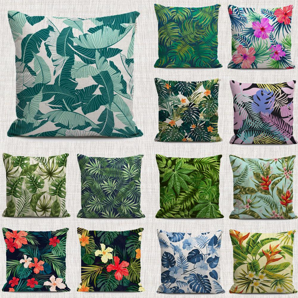 2017 Tropical Plants Cushion Covers Bright Color Pattern