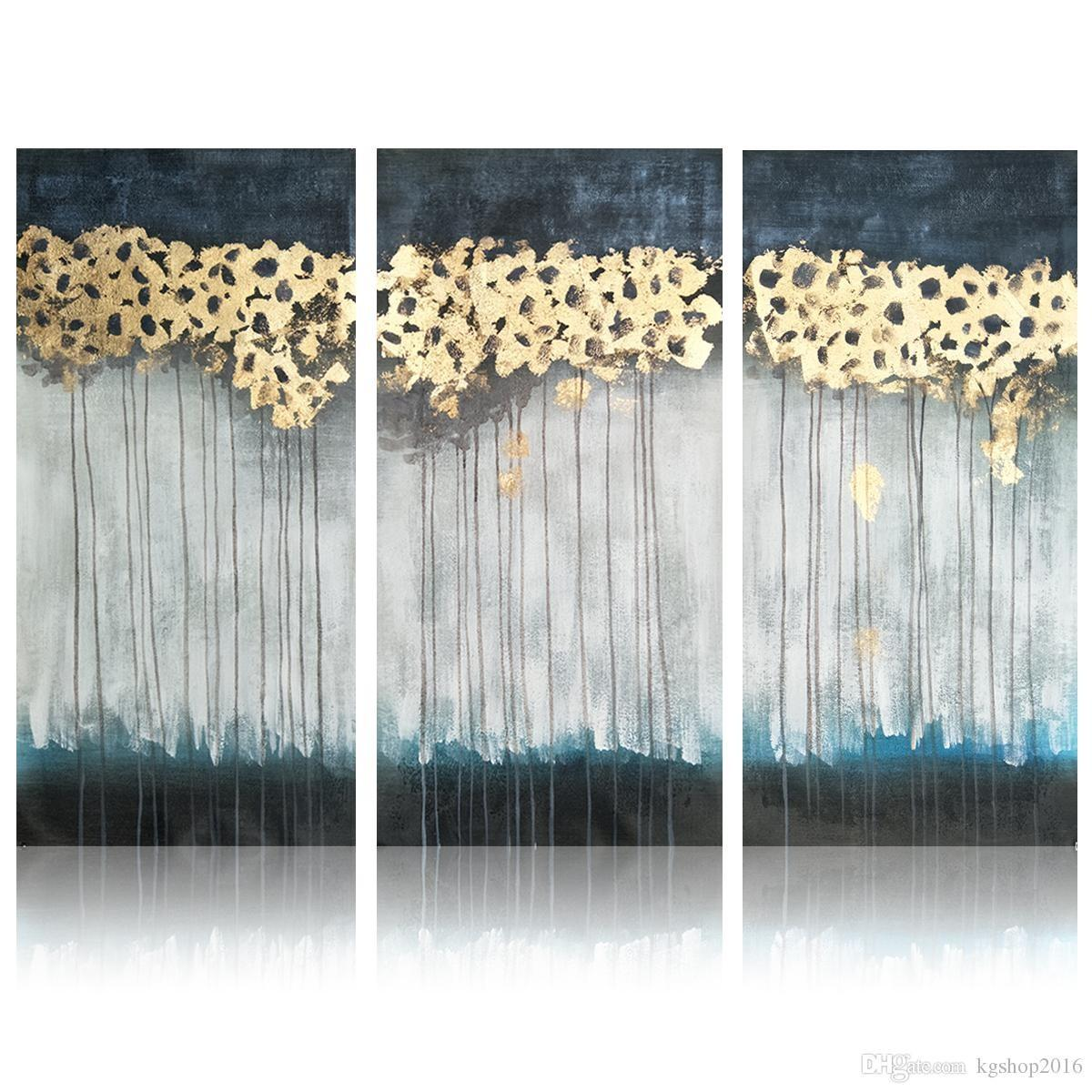 2018 Handmade Gold Foil Oil Painting Modern Abstract