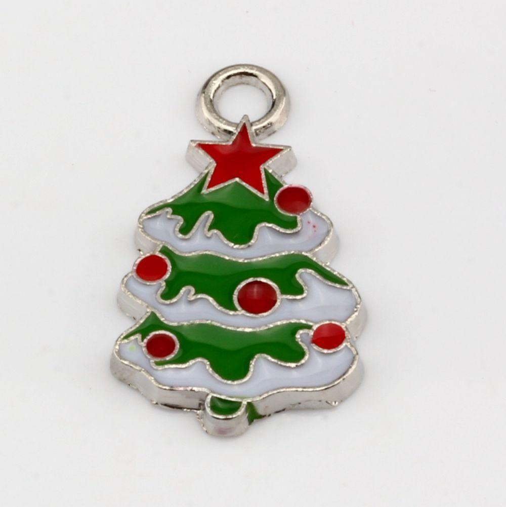 2018 Hot Green Enamel Christmas Tree Charm Pendant