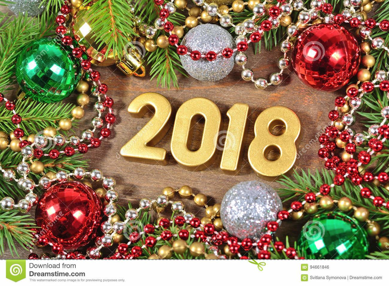 2018 Year Golden Figures Christmas Decorations Stock