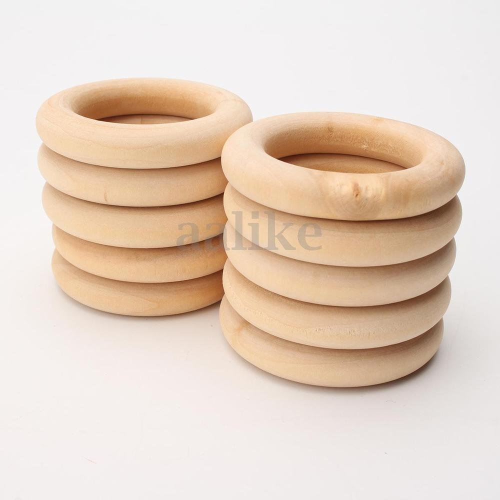 20pcs Large Outer Dia 55mm Unfinished Natural Wooden