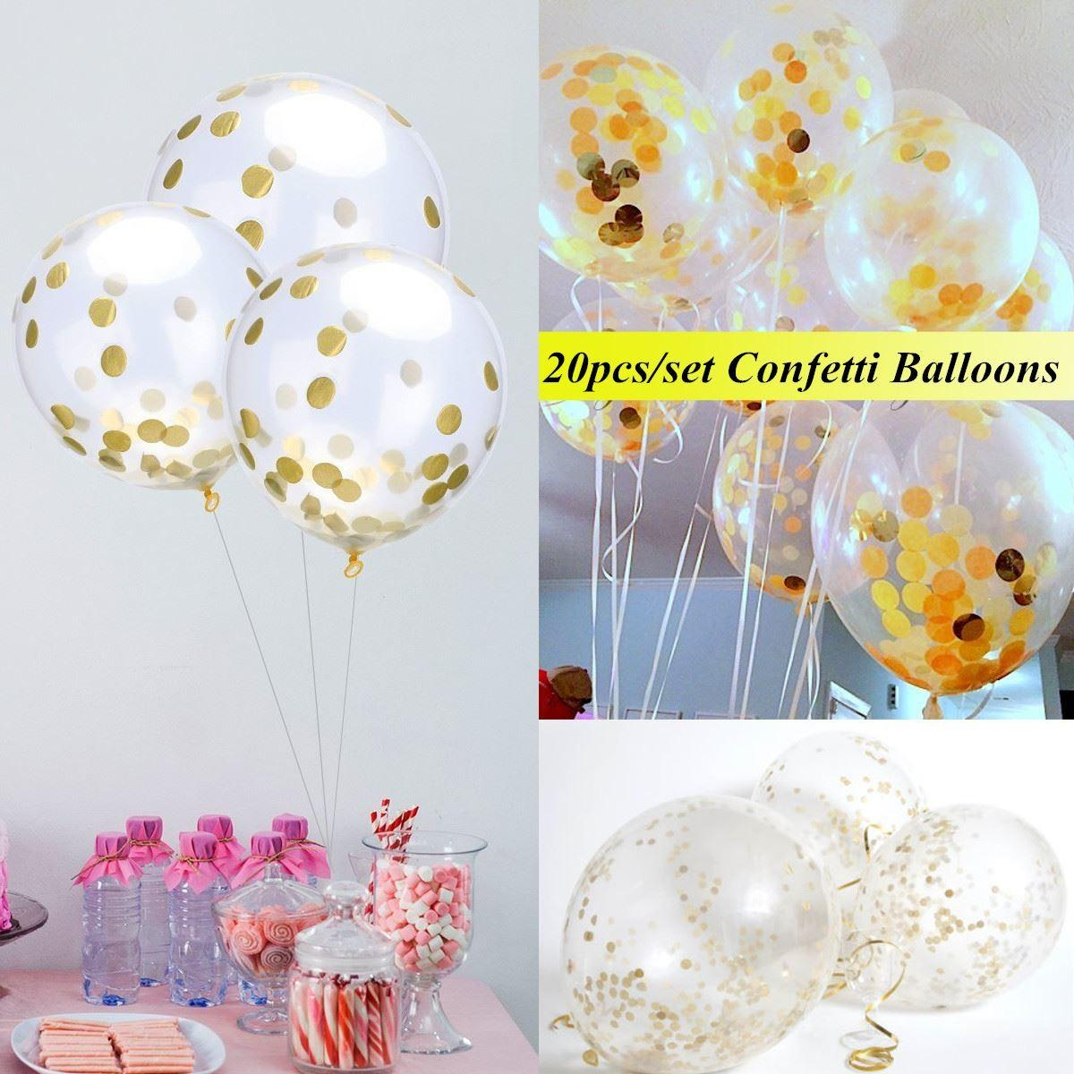20pcs Set Inch Clear Latex Gold Confetti Balloons