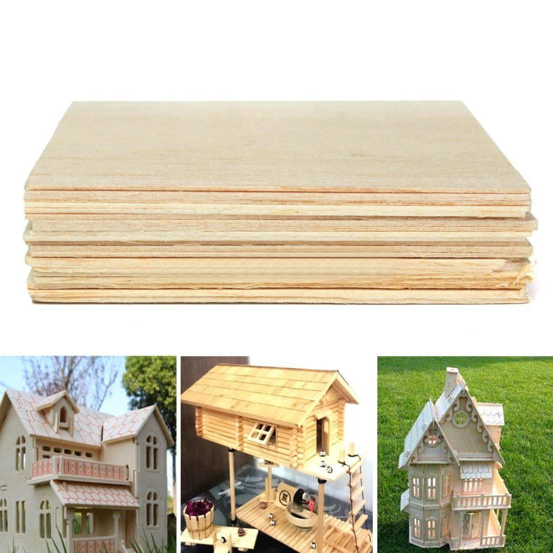20x Wooden Plate Model Balsa Wood Sheets Diy House
