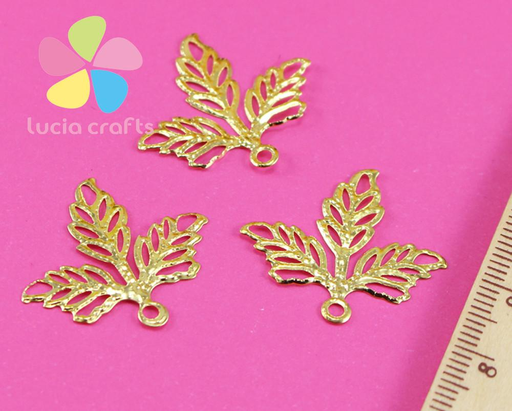 25mm Gold Metal Leaves Bookmark Jewelry Decorate Diy