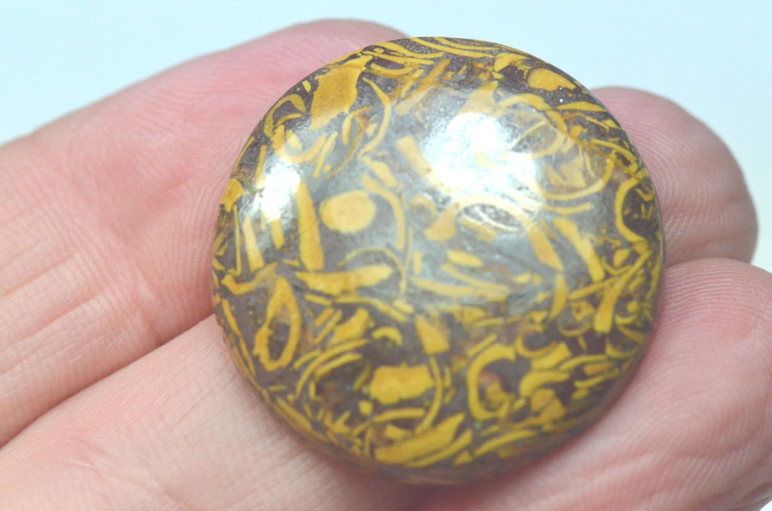 27mm Round Mexican Gold Leaf Agate Cabochon