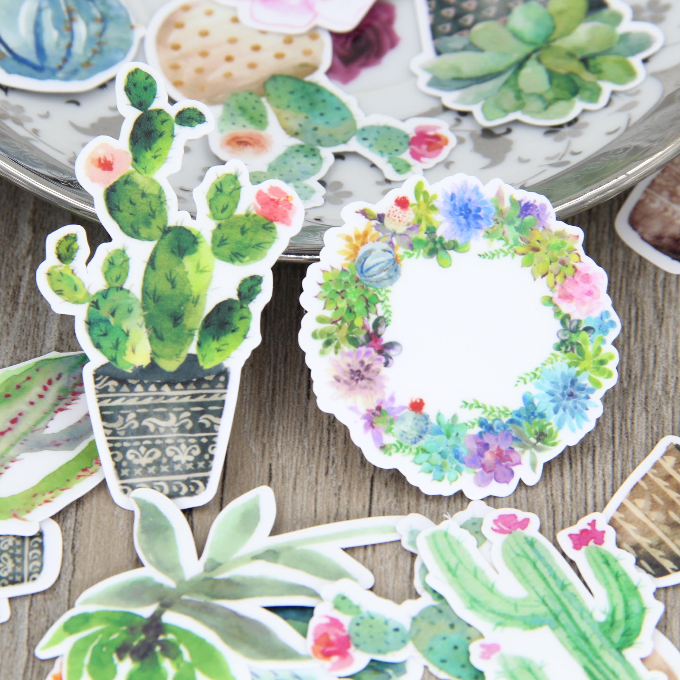 28pcs Drawing Tropical Cactus Plant Scrapbooking Stickers