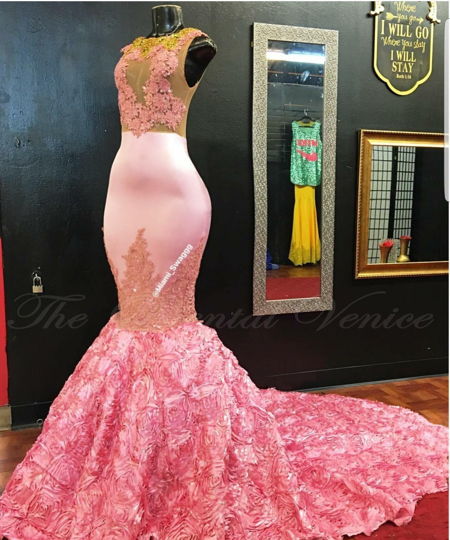 2k17 African Pink Mermaid Prom Dresses Gold Lace Appliques