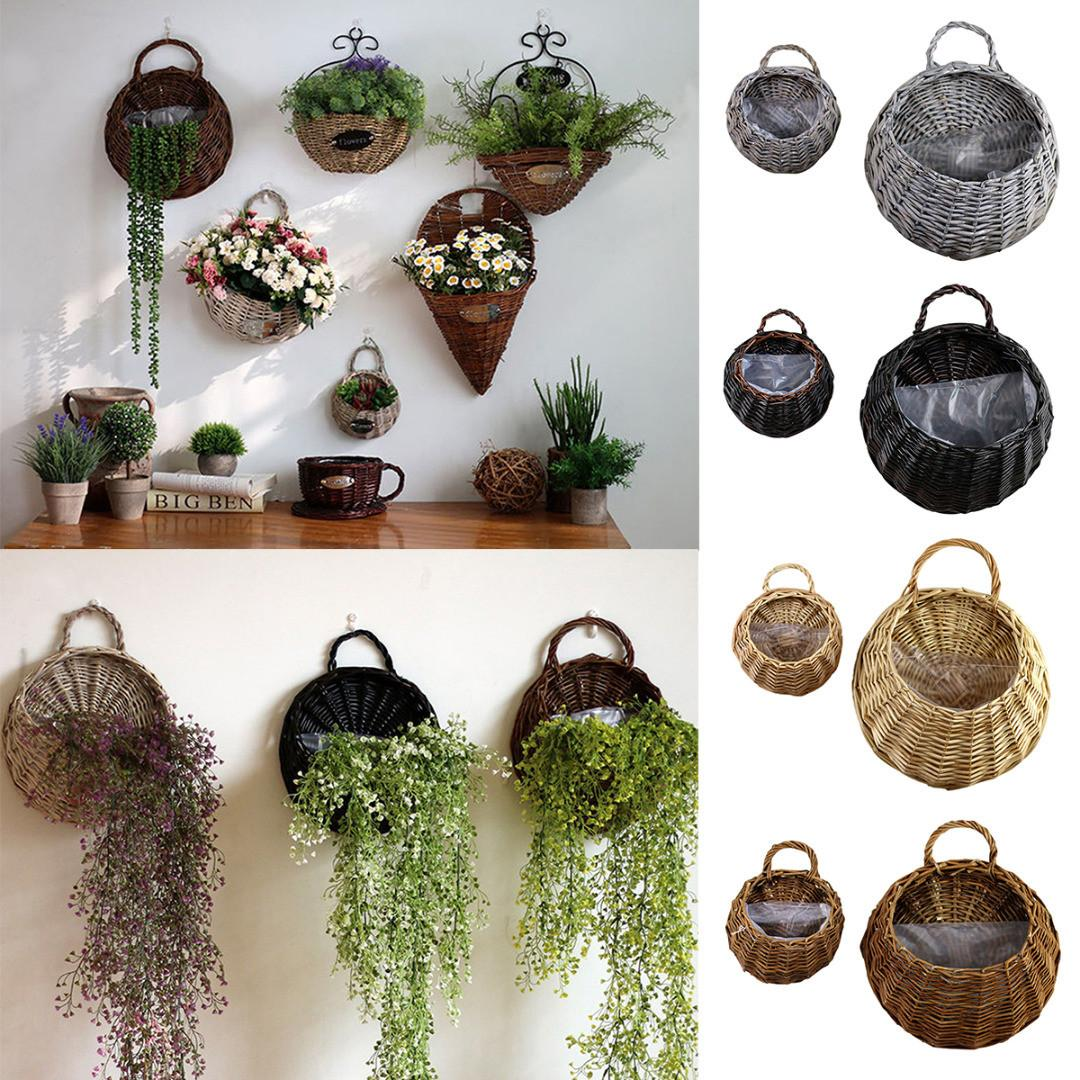 2pcs Diy Wall Hanging Wicker Rattan Flower Basket Home