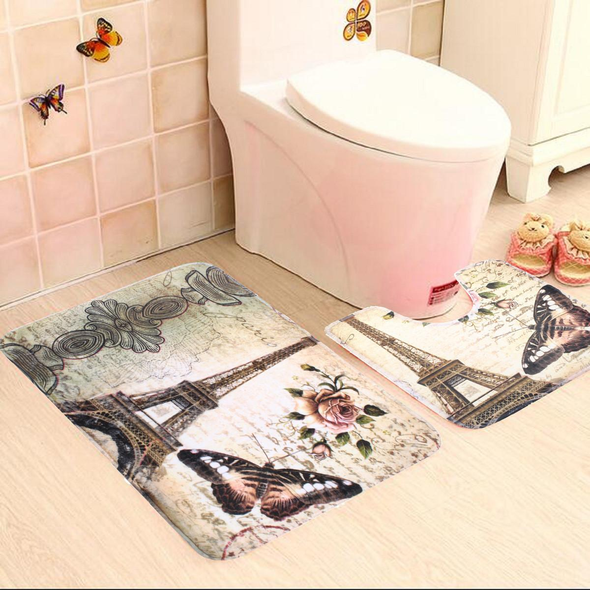 2pcs Soft Paris Eiffel Tower Style Bath Pedestal Rug Cover