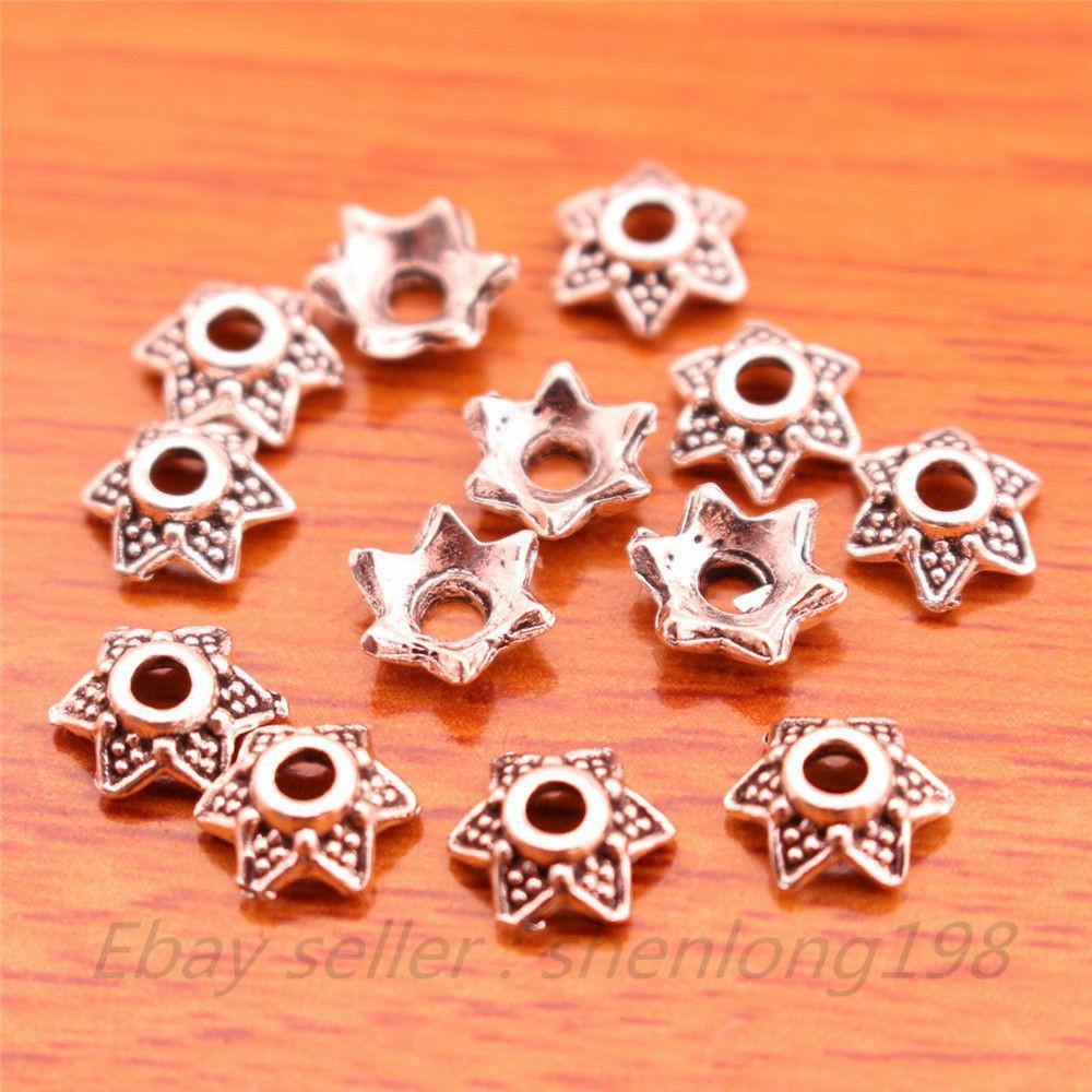 300 Pieces 7mm Beads Caps Spacer Charms Bail Tibetan