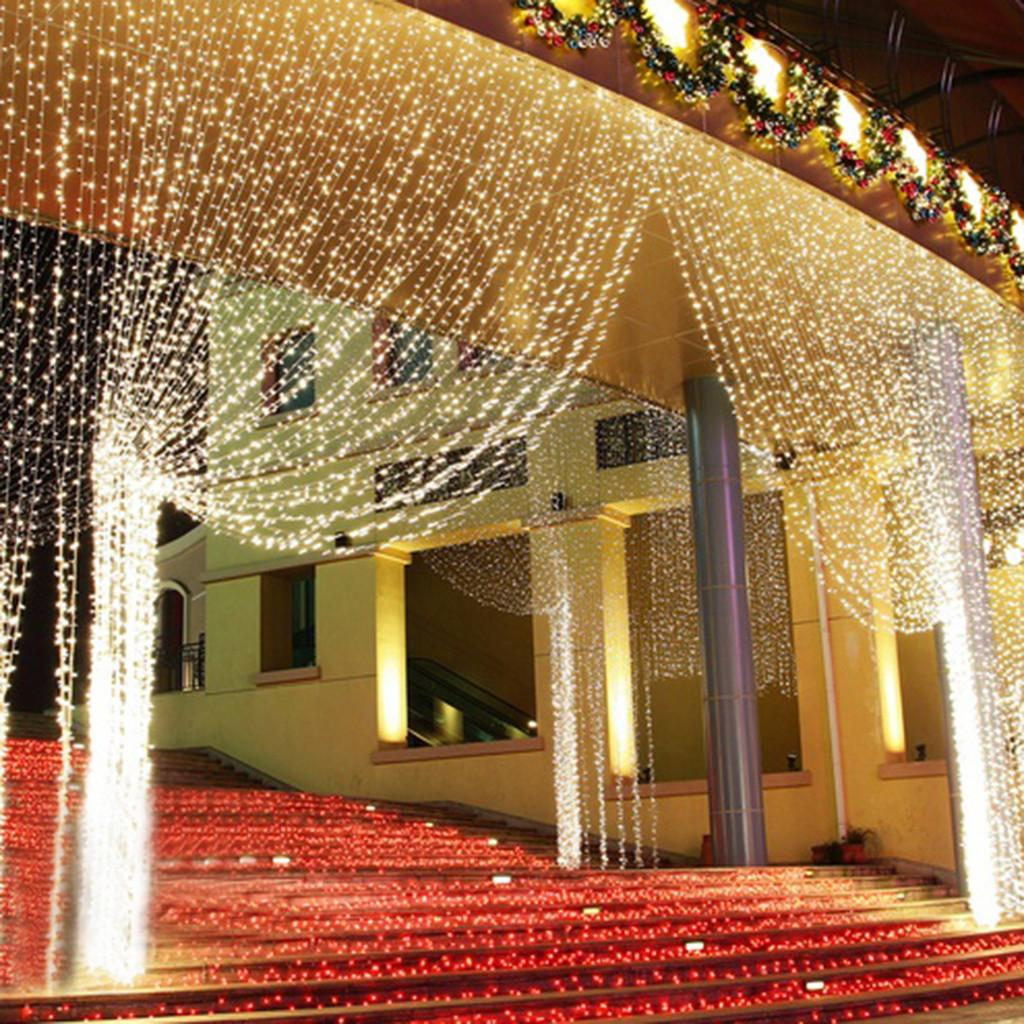 300led Warm White String Light Curtain Xmas Wedding