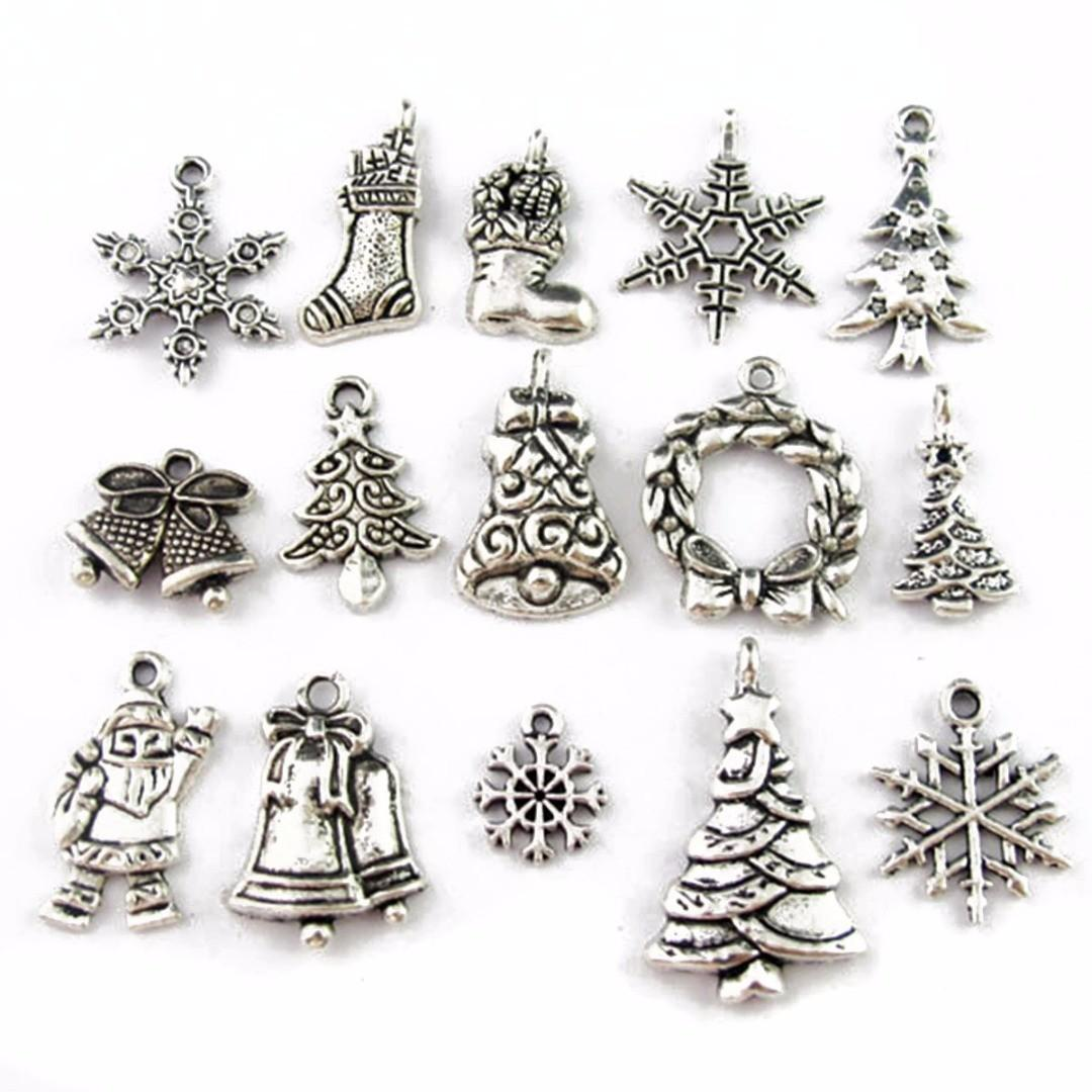 30pcs New Mixed Tibetan Silver Tone Christmas Charms