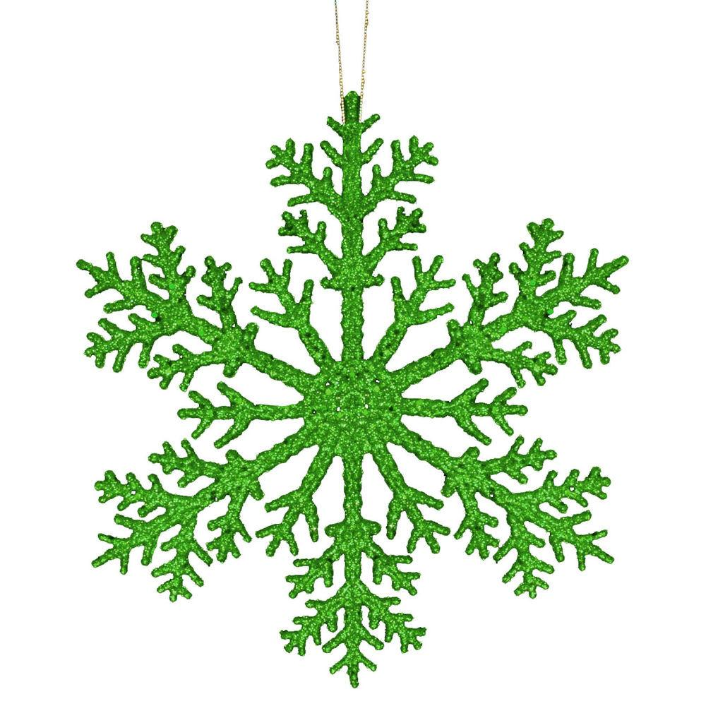 31cm Winter Wonder Christmas Large Green Glitter Snowflake