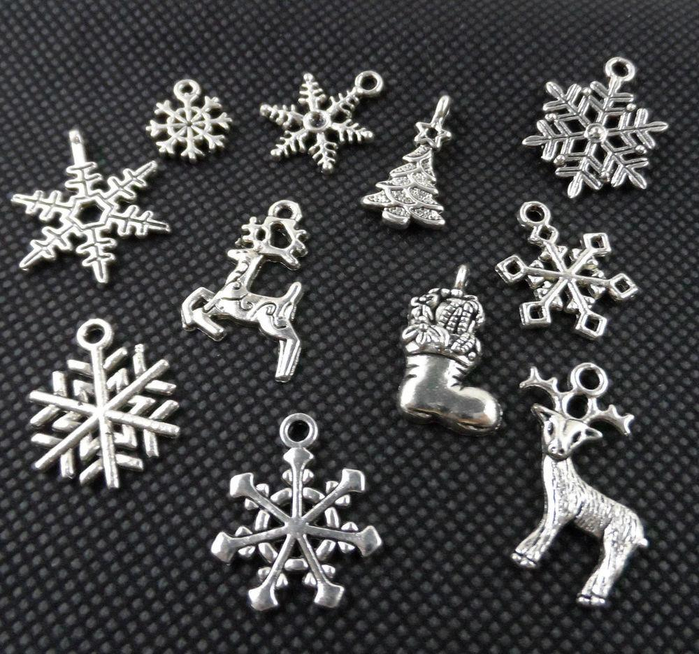 33pcs Mixed Tibetan Silver Christmas Suit Charms Pendant