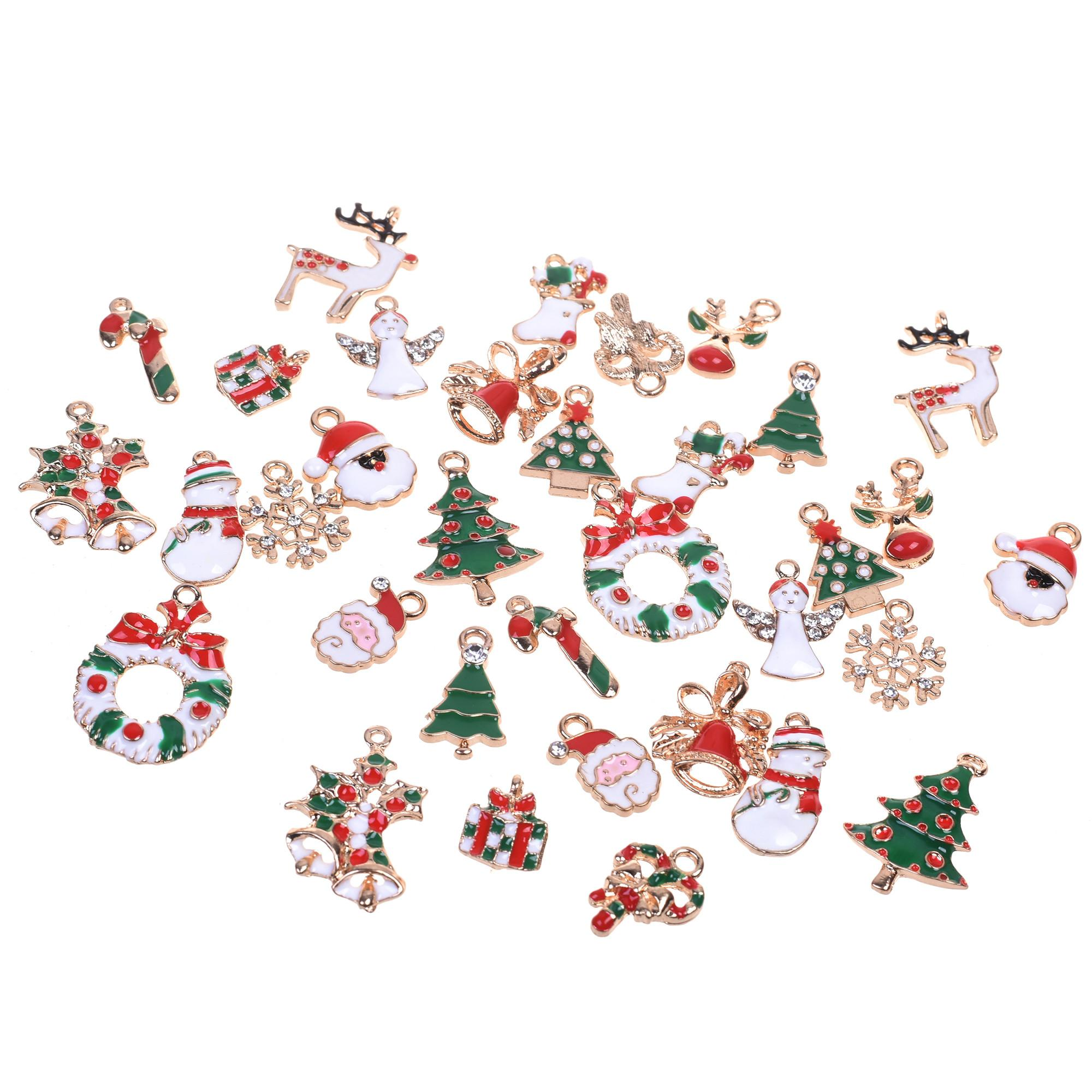 34pcs Mixed Style Christmas Tree Diy Enamel