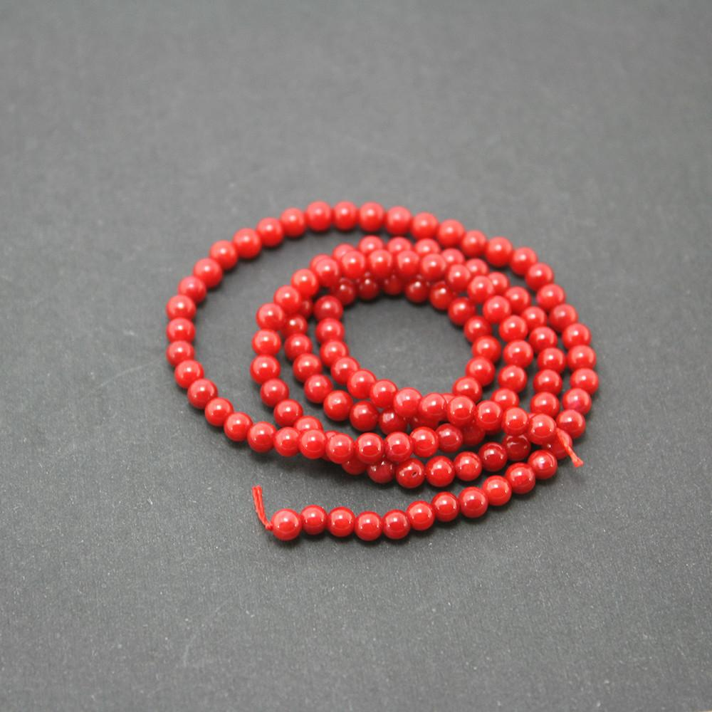 3mm Coral Beads Natural Dyed Red Stone 40cm