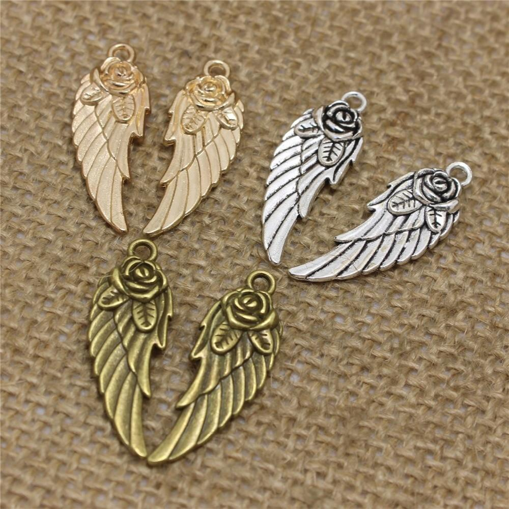 40pcs 30mm Rose Angel Wings Charms Wholesale Two Color