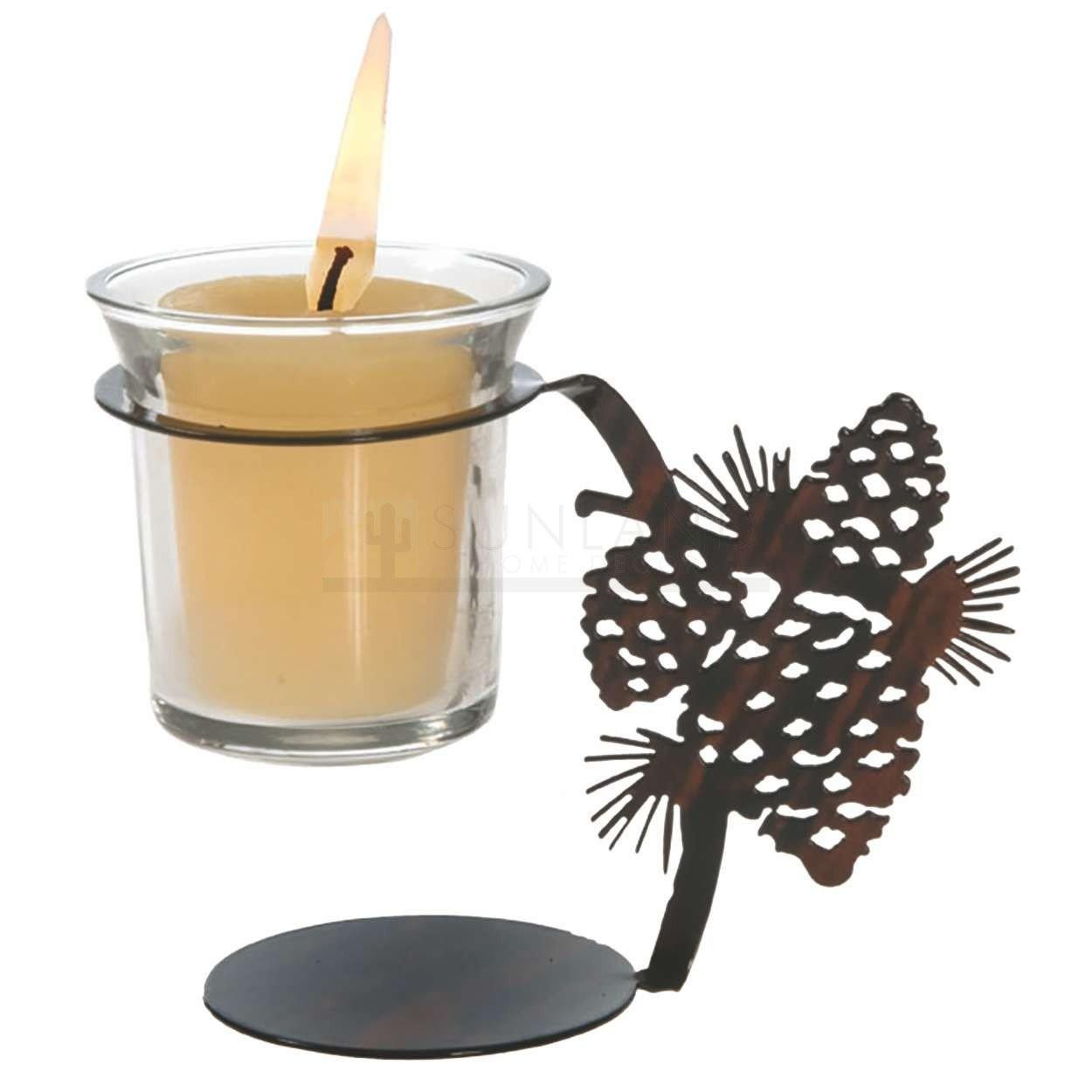 4in Artlites Candle Holder Pine Cone Natural Fusion
