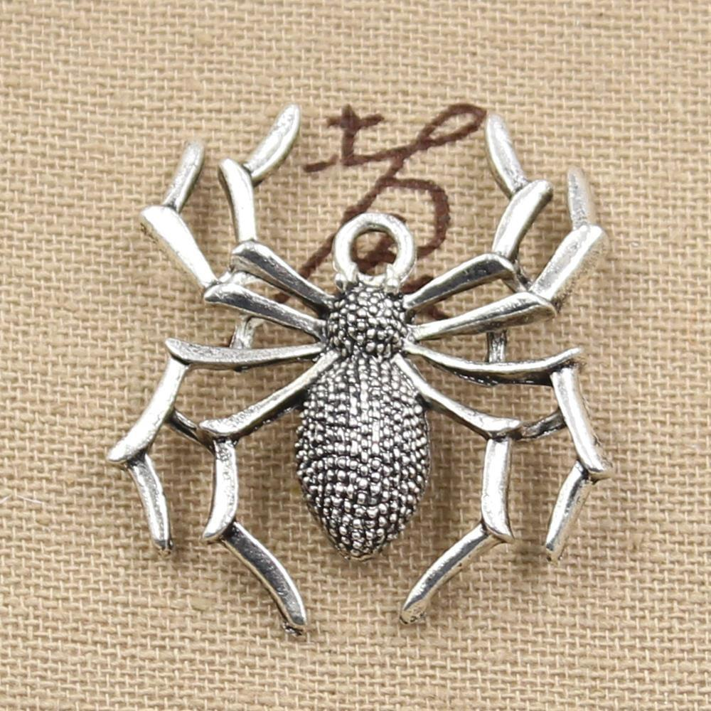 4pcs Charms Spider Halloween 32mm Antique Making