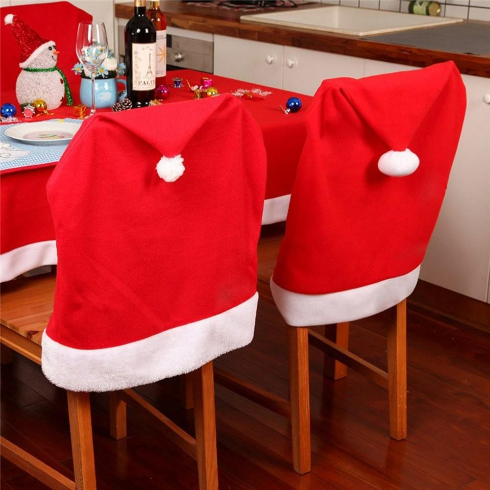 4pcs Christmas Santa Hat Dining Chair Covers Slipcovers
