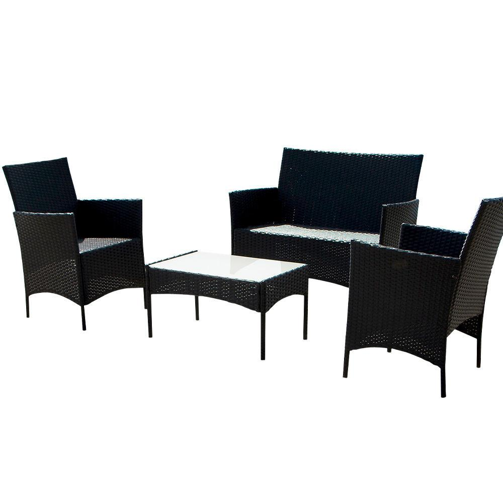4pcs Outdoor Black Rattan Wicker Sofa Set Cushioned Garden