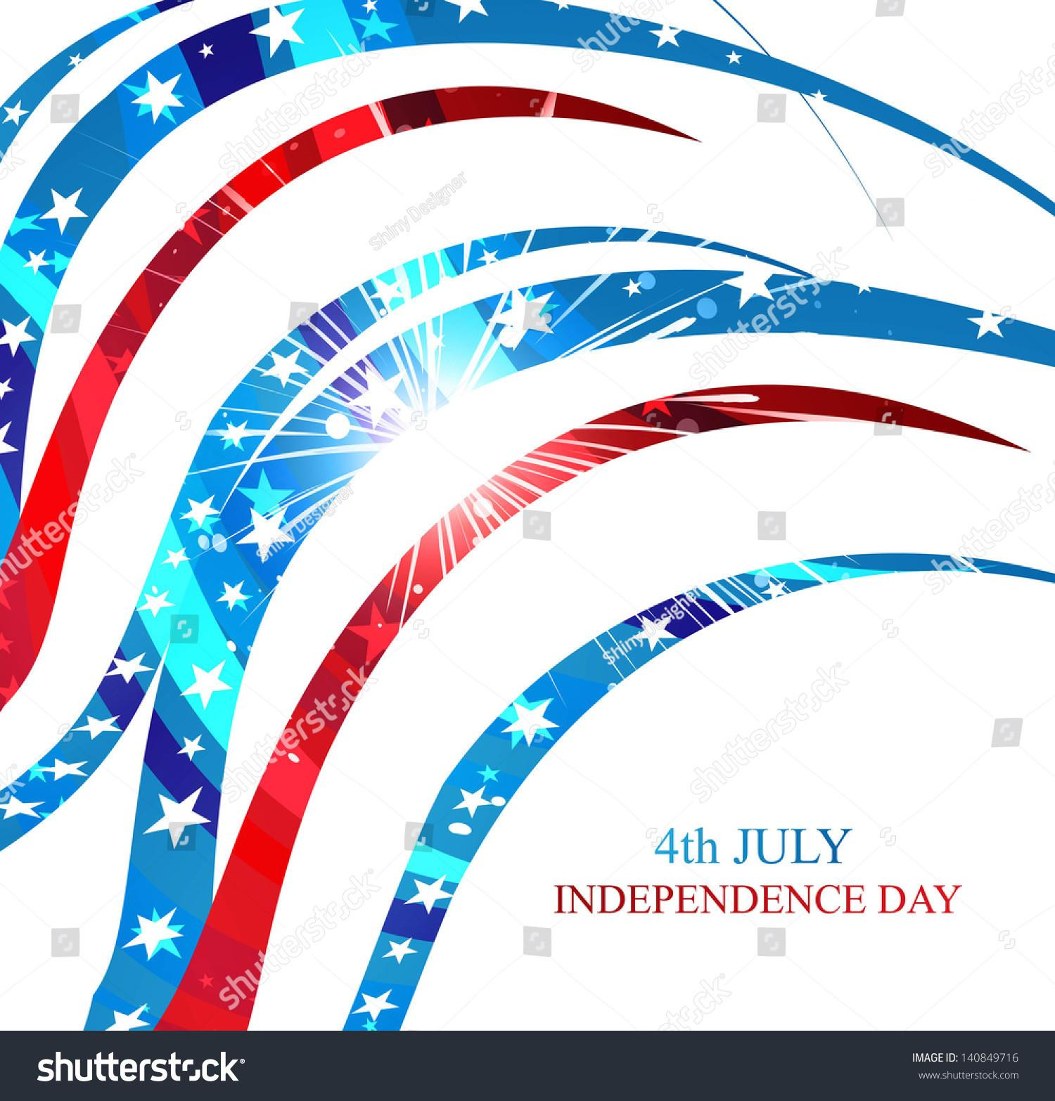 4th July American Independence Day Flag Stock Vector