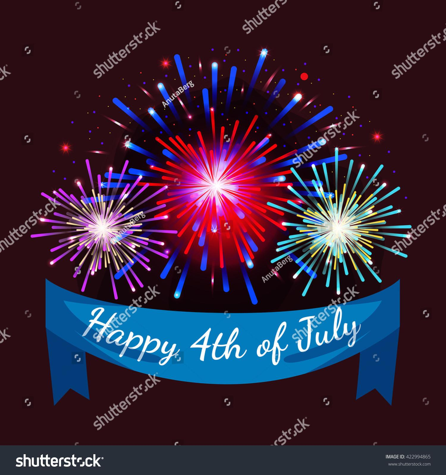 4th July Fireworks Fourth Vector Stock