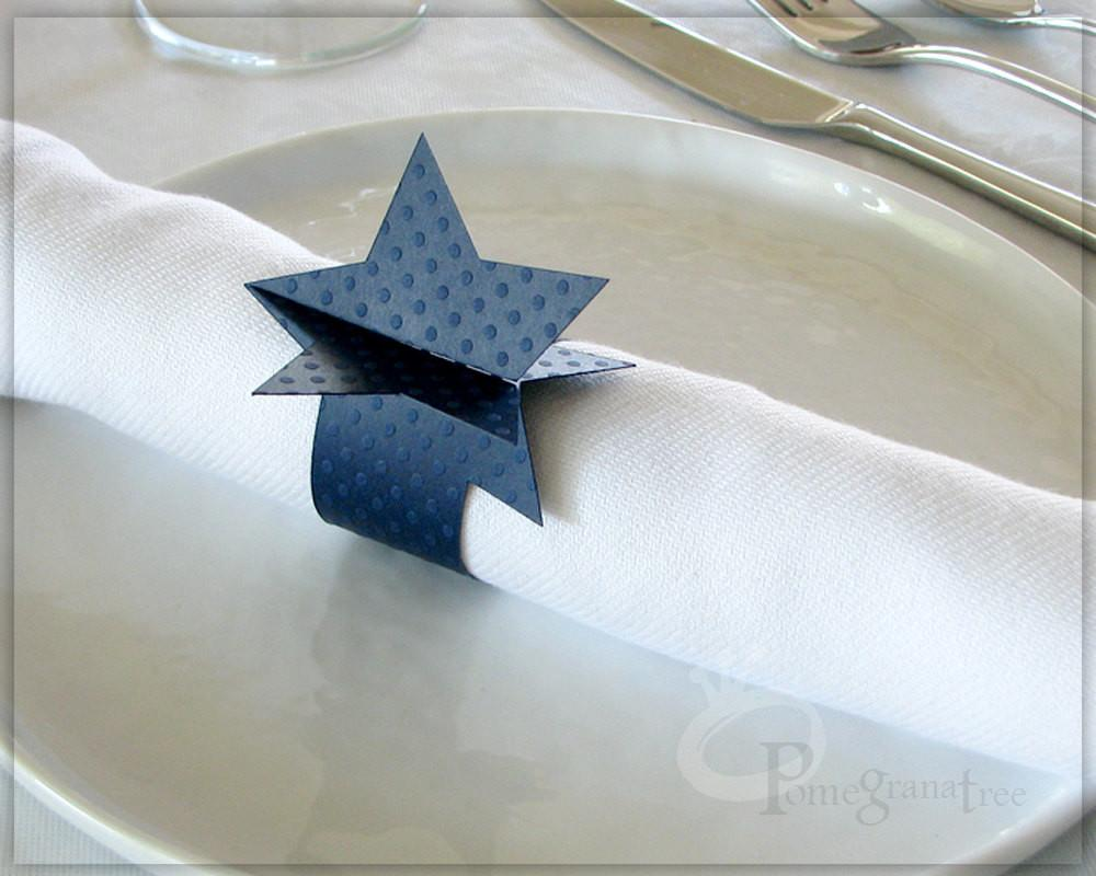 4th July Red White Blue Decor Napkin Rings Stars