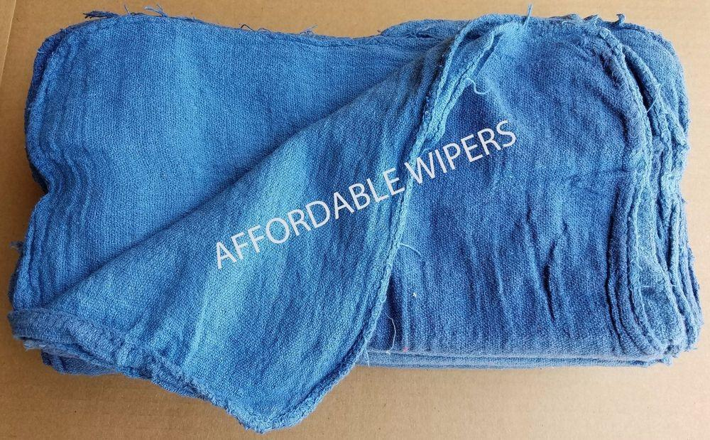 500 New Shop Rags Industrial Cleaning Towels Blue