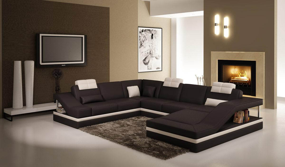 5039 Contemporary Black White Leather Sectional Sofa
