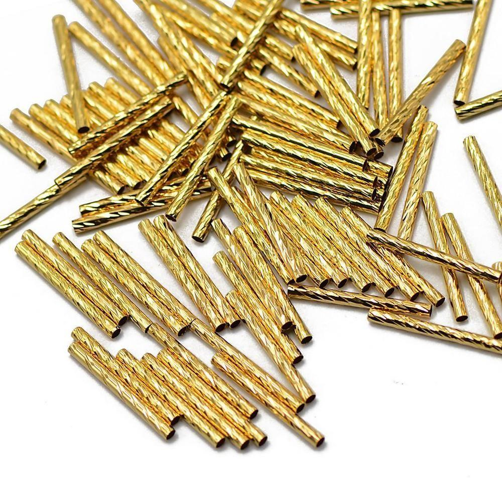 50pcs Gold Metal Engraved Tube Noodle Beads Spacer Jewelry