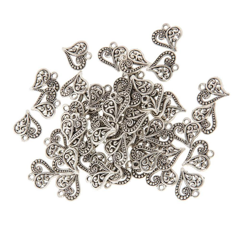 50x Antique Bronze Heart Diy Charms Jewelry Findings