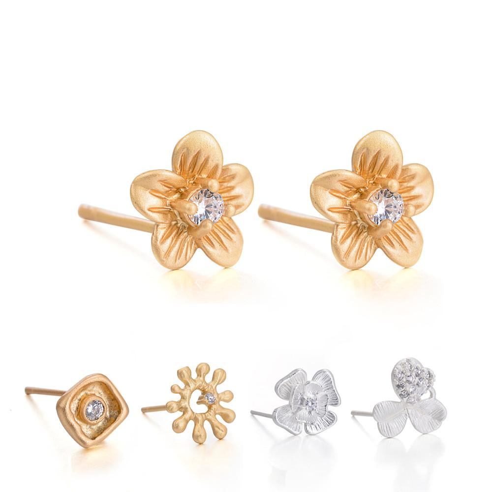 5pair New Fashion Gold Silver Colors Crystal Flower