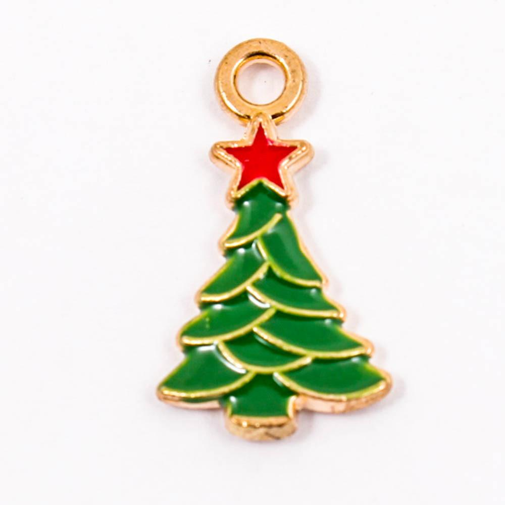 5pcs 25pcs Christmas Tree Enamel Charms Alloy Pendant