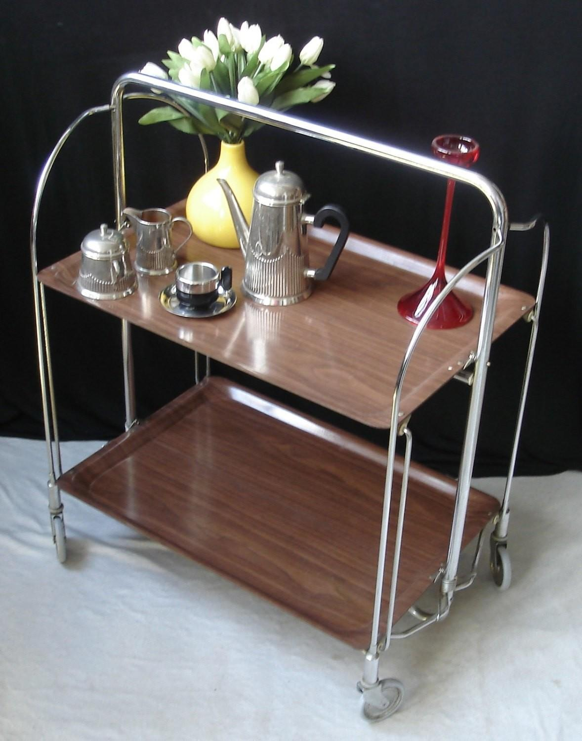 60s Fold Roll Convertible Serving Table Trolley