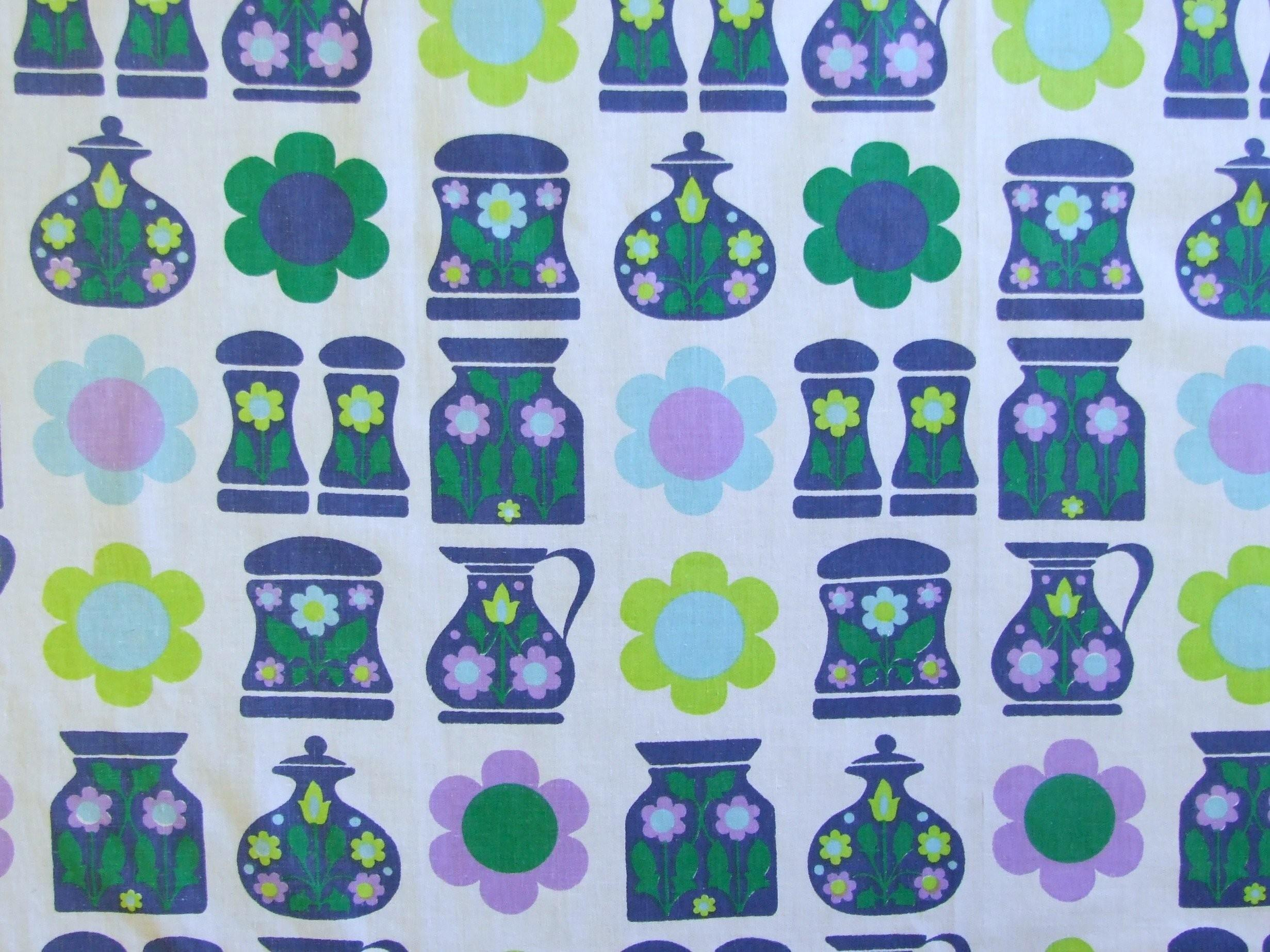 60s Kitchen Fabric Fat Quarter Rainbow Vintage Home
