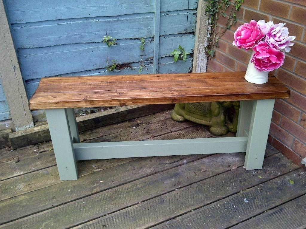 6fat Leg Rustic Shabby Chic Garden Bench Aprox 4ft