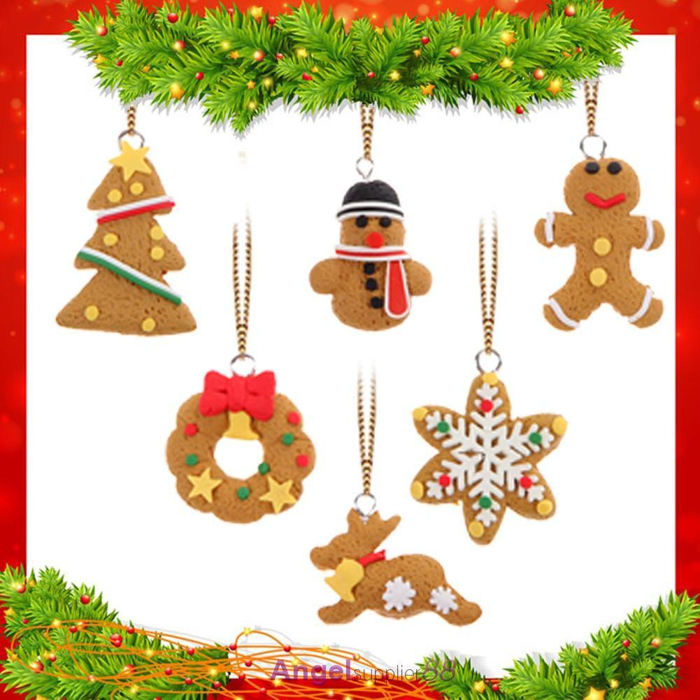 6pcs Christmas Tree Diy Decor Clay Pendants Hanging