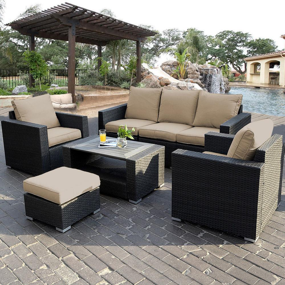 7pc Outdoor Patio Sectional Furniture Wicker