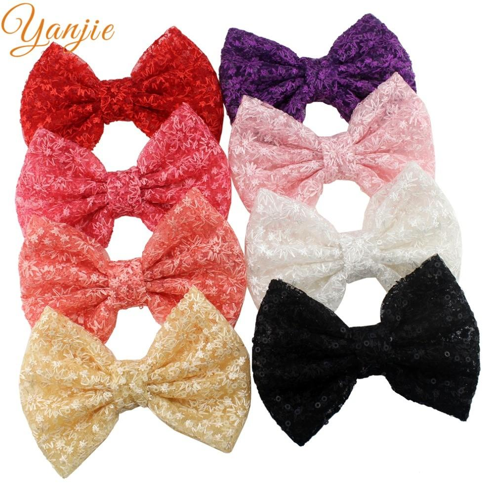 8pcs Lot Chic Embroidery Kids Girl Sequin Hair Bow