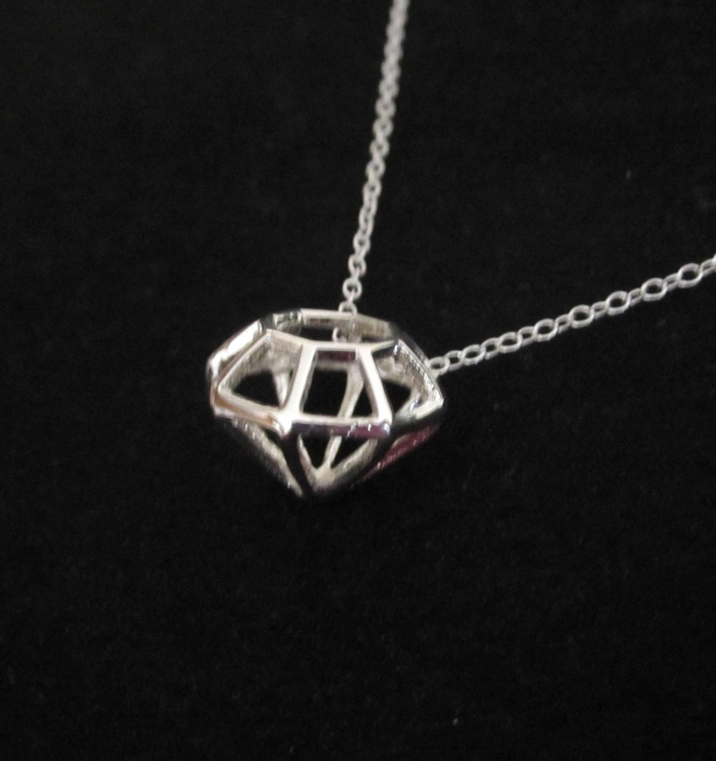 925 Sterling Silver Diamond Shape Pendant Charm