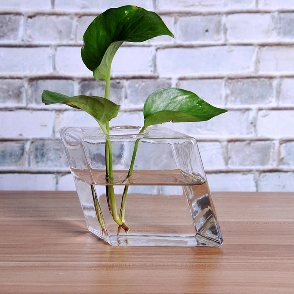 9pcs Rhombus Glass Wall Vase Mountable Plant Planters