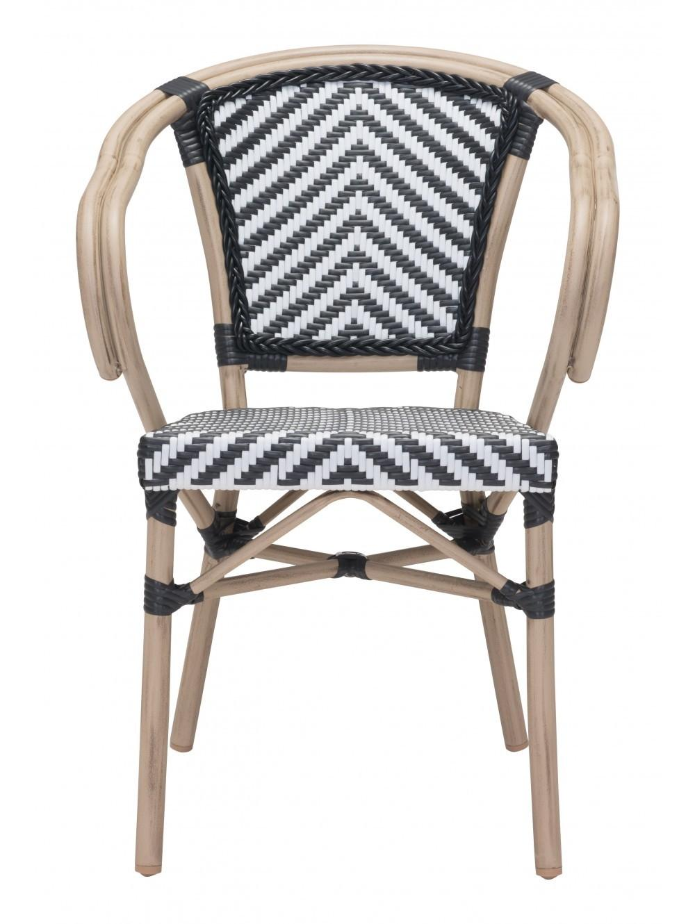 Abri Indoor Outdoor Dining Arm Chair Black White Set