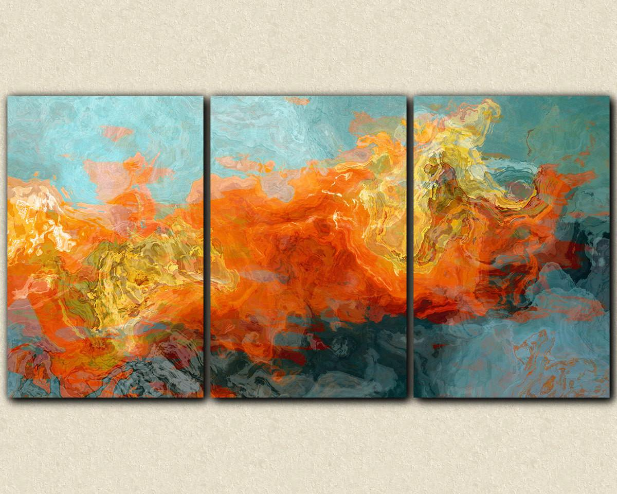 Abstract Art Oversized Triptych Wrap Giclee