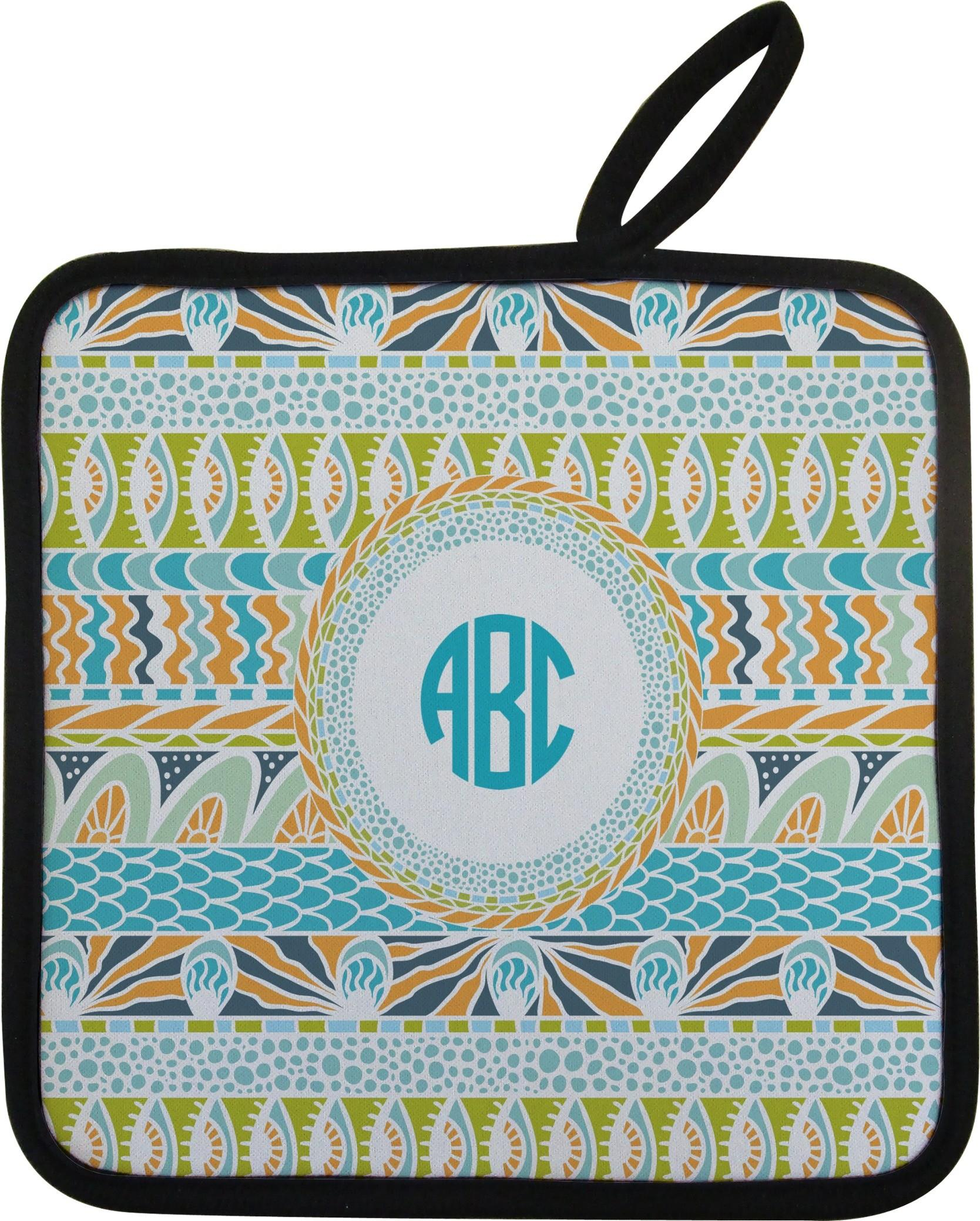 Abstract Teal Stripes Pot Holder Personalized