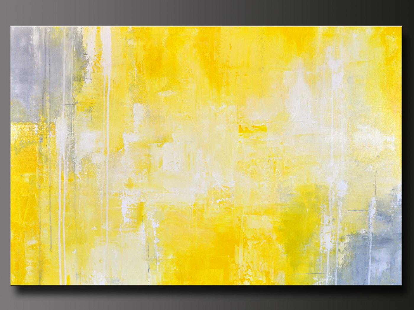 Abstract Yellow Acrylic Painting