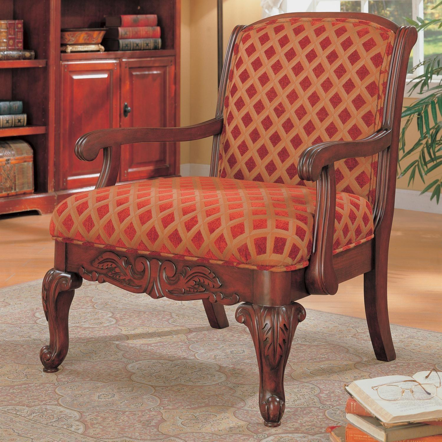 Accent Chair Upholstered Red Gold Pattern Chenille