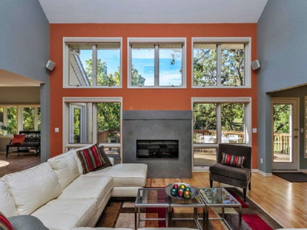 Accent Fireplace Living Room Orange Wall